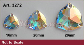 Swarovski 3272 Trilliant Crystal AB Sizes