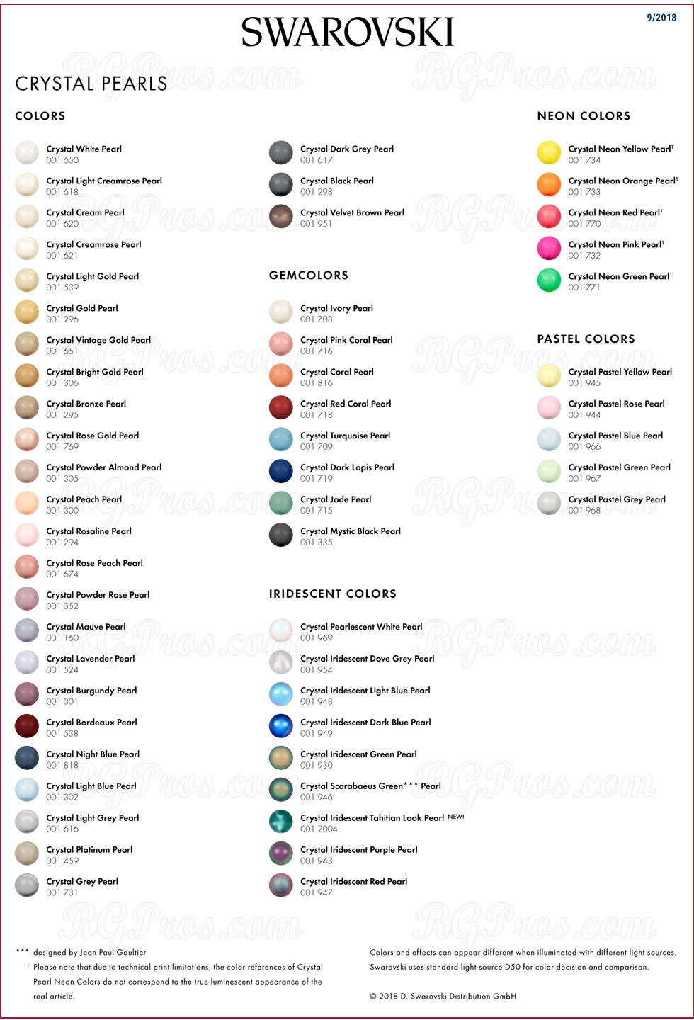 Swarovski pearl cabochons color chart