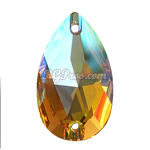 Swarovski 3230 Pear (Drop)  Sew On Stone - Light Topaz Shimmer