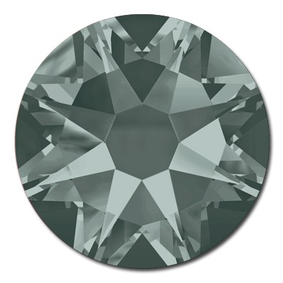 Swarovski <b>Hot Fix</b> (flat back) Round Rhinestones Art. 2078 & Art. 2038<br> - Black Diamond