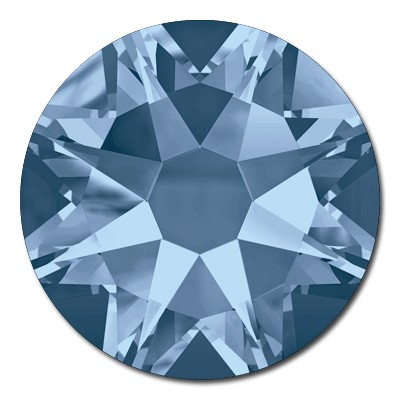 Swarovski <b>Hot Fix</b> (flat back) Round Rhinestones Art. 2078 & Art. 2038<br> - Denim Blue