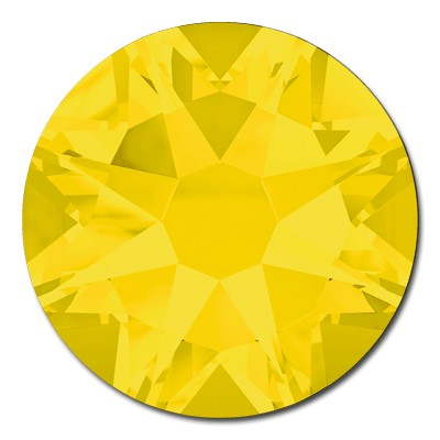 Swarovski <b>Hot Fix</b> (flat back) Round Rhinestones Art. 2078 & Art. 2038<br> - Yellow Opal