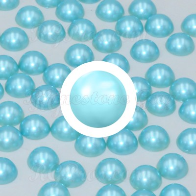 RG Premium Acrylic Pearl Cabochon Flat Back - Light Turquoise