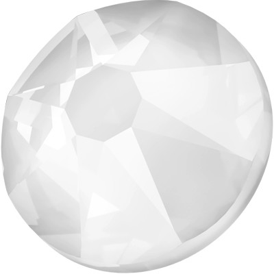 Swarovski <b>Hot Fix</b> (flat back) Round Rhinestones Art. 2078 & Art. 2038<br> - Electric White Lacquer Pro