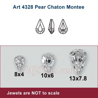 Swarovski Pear Chaton (Pointed Back) Montees  Crystal Silver Setting