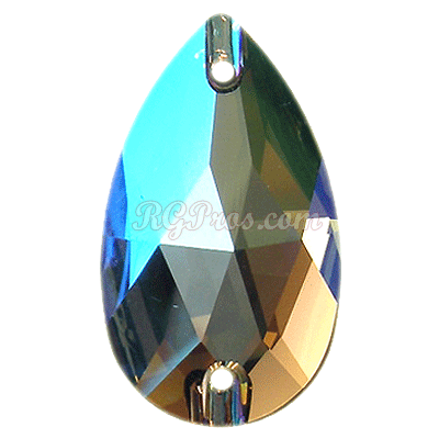 Swarovski 3230 Pear (Drop)  Sew On Stone - Black Diamond Shimmer