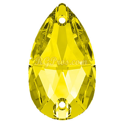 Swarovski 3230 Pear (Drop)  Sew On Stone - Citrine