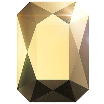 Swarovski 2602 Emerald Cut Flatback - Crystal Aurum